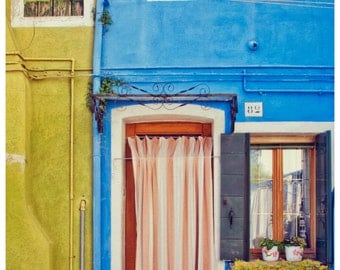 Travel Photography, Burano Photo, Colorful, Venice Street, Houses, Italy Wall Decor, Blue, Green, Large Fine Art Print, Boho, Door, Europe