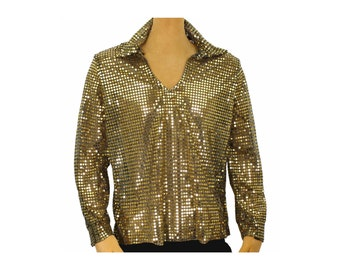 Men's 70's Disco Shiny GOLD Sequin Shirt