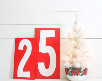 December 25 Signs - Retro Christmas Mantel Decorations - Mid Century Christmas Signs Decorations - Vintage Holiday Decor - Atomic Christmas