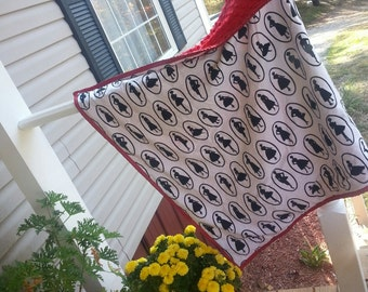 Minky Blanket ~ Retro Silhouette ~ Black, White & Red ~ Monogram Available ~ Baby Girl Gift ~ Baby Shower Gift ~ READY TO SHIP