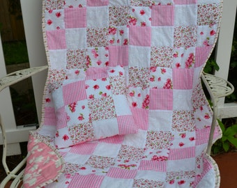 Baby Girl Quilt and Pillow Toddler Bed Crib Size Cottage Chic Gingham Roses Nursery Bedding Baby Blanket Crib Cot Handmade Girl Quilt