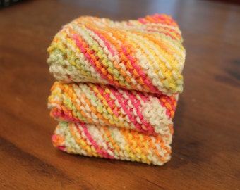 3 Hand Knitted Dish Cloths, Dish Rags, 100% Cotton, Pink, Orange, Yellow, Lime Green and White, Wash Rags, cleaning, washcloth, dishcloth