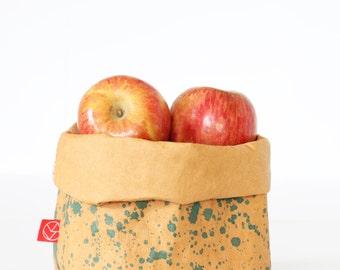 Washable Kraft Paper Bag, Fruit Basket, Bread Basket, Hand Printed Storage, Gift Basket Idea