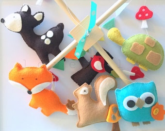 Baby Mobile - baby mobile woodland - woodland Mobile - owl mobile - deer mobile - forest mobile - baby mobile forest