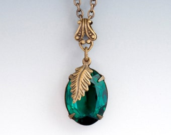 Emerald Green Rhinestone Necklace Hypoallergenic, Rhinestone Drop Pendant, Brass Leaf Necklace, Green Crystal Rhinestone Jewelry, Francka