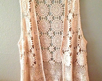 Vintage Crocheted Granny Vest