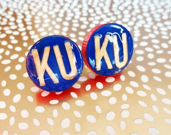 KU earrings, KU Studs, University of Kansas earrings, KU jewelry