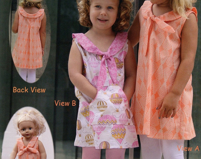 Charmed Pattern / Girl's Pull On Dress Pattern / Back Pleat for Swing / Kangaroo Pocket / Matching Doll Dress / by Olive Ann Designs.