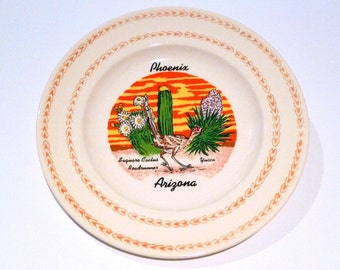 Phoenix Arizona Plate Vintage Roadrunner with Saguaro Cactus and Blooming Yucca USA Travel Souvenir Roadtrip Psychedelic Sunset Sunrise 70s