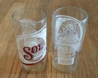 Hand cut Sol beer bottle tumbler set