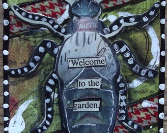 Welcome to the Garden / Original ACEO / Mixed Media Collage / OOAK / Miniature Art Work / Bugs / insect / mixed media / collage / gardening