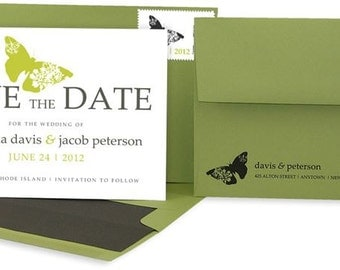 Butterfly Save the Dates: Custom Modern Save the Date Cards.  Grey and Green.  Gray and Green Wedding.  Garden Wedding.  Custom Colors.