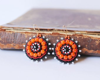 Orange Black Beadwork Earrings Bead embroidery Earrings Orange dangle Earrings Bead embroidered jewelry Spring fashion Gift for her