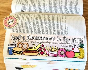 Bible Journaling Bible Verse Art Bible Verse Print great for faith journals Art Journal Pizza, Donut, Food, Pineapple Philippians 4:19