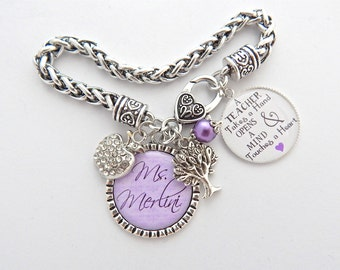 TEACHER Gift Teacher Bracelet Purple PERSONALIZED Teacher Charm Bracelet Lavender Apple Preschool Daycare Thank You for helping me grow