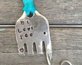ELEPHANT Ornament hand stamped WE LOVE You with heart on leg and trunk Teal Ribbon