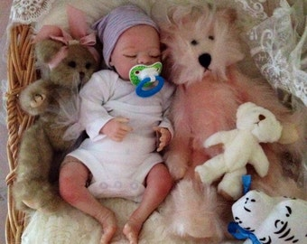 Completed Reborn Baby Girl Lilly from the Maisey 15 inch Kit with Magnetic Pacifier