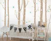 Birch Tree Wall Decals | Seven Birch Trees with Flying Birds | Birch Tree Wall Sticker Set for Baby Nursery, Children's Room  009