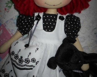 E-pattern 16 inch Raggedy Annie, cloth doll