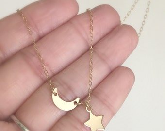 Moon Star Necklace, 14k Gold filled Necklace, Moon Necklace, Star Necklace, Children's Necklace, Best Friend Necklace, Mother's Day Gift