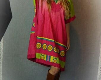 Vintage Indonesian caftan dress / oversize vivid tropical cotton beach cover / tribal colourful muumuu