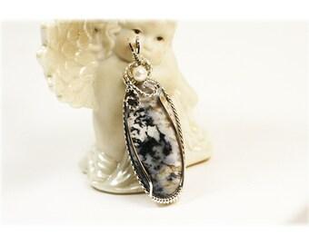 Moss Agate Jewelry / Moss Agate Pendant / Fresh Water Pearl