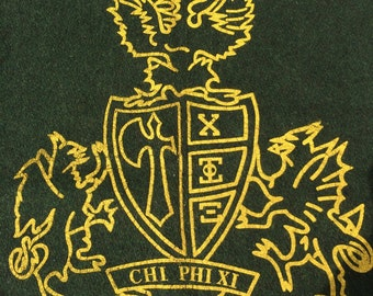 Vintage CHI PHI XI Fraternity Wool Blanket  Stadium Wool Blanket with Fraternity Crest 60 x 38  Green and Gold