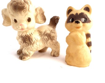 Vintage 1950s Rubber Squeaky Toys Ruth E Newton Dog and NT Aubin Racoon Soft Rubber Vintage Dog and Racoon
