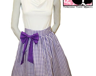 Katy Bow Skirt in Purple Gingham