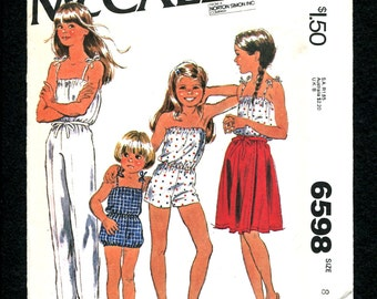 Vintage 1980's McCalls 6598 Summer Time Rompers & Jumpsuit with Wrap Skirt For Girls Size 8 UNCUT