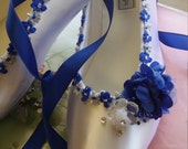 Wedding Flats Royal Blue flowers with silver trim White satin shoes, Something Blue Wedding Flats, Lace Up Ribbon, Ballet style Flat