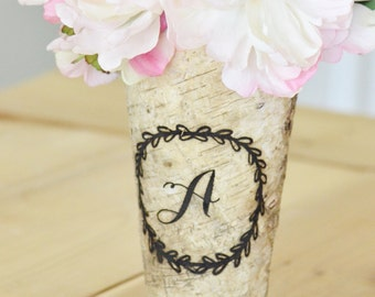 Personalized birch vase, wedding decor, personalized gift, home decor, mom gift