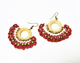 Brown Crochet Earrings, Colorful Crochet Boho Earrings, Tribal  Earrings, Tribal Crochet Earrings, Knitting Earrings, Boho Crochet