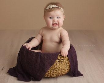 Newborn Headband - Newborn Photo Prop: Newborn Tieback, Newborn Flower Crown, Newborn Halo, Organic Photograhy Props, White, Cream, Ivory