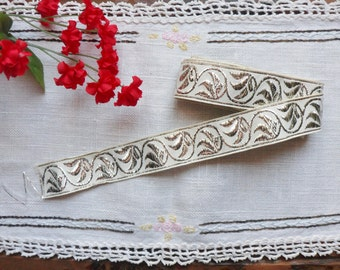 Silver Metallic Trim from the 40s, 1 1/2 yd, Woven Silver Vine Leaf Trim 7/8""