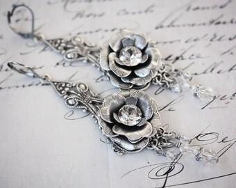 LA MARIÈE Victorian Decadent Bridal Earrings, Swarovski Crystal Chandelier Bridal Earrings, Statement Earrings