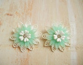 Vintage 1950's Floral  Plastic Earrings | Mint Green and White Soft Plastic Earrings