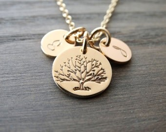 Personalized Gold Tree of Life Necklace Family tree Necklace Gifts for Mom Gift Mothers Day Gift Initial Necklace Mothers Day from Daughter