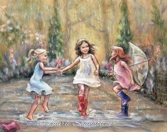 """Dancing, rain - ORIGINAL pastel painting - wall art, three girls """"Come Dance With Me My Friends!"""" Laurie Shanholtzer"""