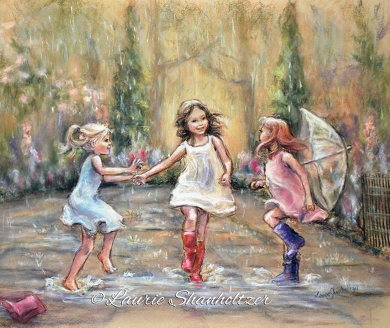 "Dancing, rain - ORIGINAL pastel painting - wall art, three girls ""Come Dance With Me My Friends!"" Laurie Shanholtzer"