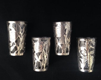 4 Vintage Taxco Sterling Silver Overlay Shot Glasses Marked CH Taxco .925 Taxco Sterling Shot Glass Set of 4