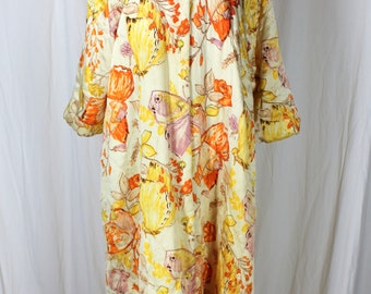 Vintage Quilted Robe Boutique of California Yellow Florals and Butterflies