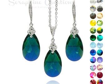 Emerald Crystal Jewelry Set Emerald AB Earrings Necklace Swarovski Wedding Jewelry Green Bridesmaid Gift Cubic Zirconia Dark Green KPL021