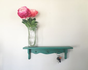 Hand Painted Wall Shelf with Peg Hooks in Turquoise