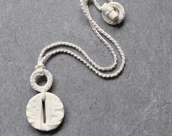 White geometric necklace / unique ceramic necklace / circle ceramic pendant / modern necklace / Ceramic jewelry / geometric jewelry