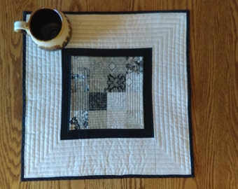 Table Runner, Table topper, quilted table runner, Dresser Scarf, neutral, square, black tie affair