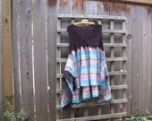 Funky Plaid Tunic Pink Turquoise Lagenlook Upcycled Plus Size Pixie/Funky One of a Kind Asymmetrical Eco Blouse/ Hi Lo Womens Tops XL/XXL