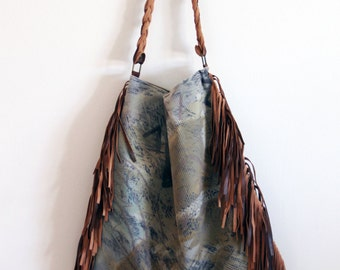 NEW slouchy bag, large, leather and velvety fabric, braided leather shoulder strap, canvas lining. Valentine's gift. Ready to ship