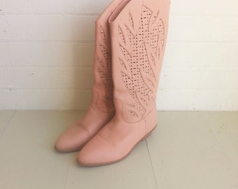 Pink cowboy boots western boots size 7 / 8