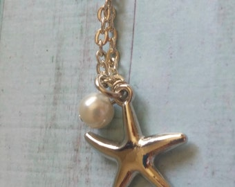 Silver Starfish with Pearl Necklace.Contemporary. Beach. Nautical. Modern. Bridesmaid.Bridal.Wedding.Gift for her.Women.Beach Theme Wedding